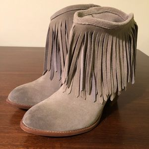 Frye Ilana Fringe Boots- dark grey